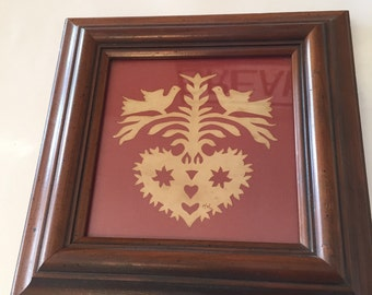 Scherenschnitte framed heart with doves from Calico Apple