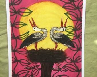 White Storks Nesting - Art Print