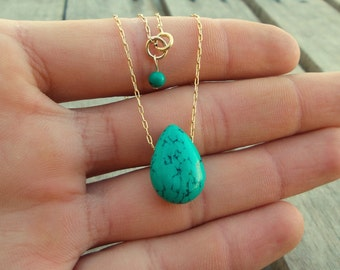 Turquoise Necklace /  Turquoise Pendant Necklace / Modern jewelry / Tiny Turquoise Teardrop Necklace / Gift for her
