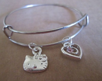 Adjustable Bangle Bracelet with Hello Kitty and Heart Charms