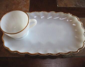1950s Anchor Hocking Fire King Snack Set White Milk Glass - Item #1051