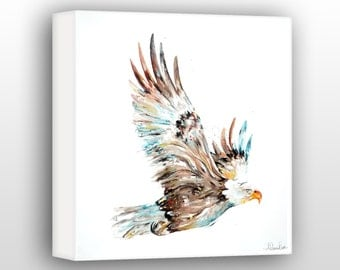 Golden Eagle Art, Eagle Painting, Eagle Office Wall Decor Limited Edition Gallery Wrapped Canvas