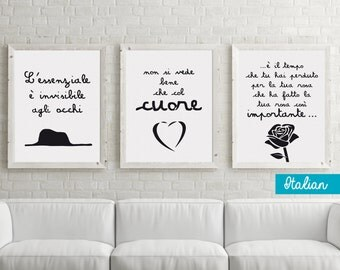 Il piccolo principe, The little prince, Le petit prince - 3 DIGITAL FILES - 3 LANGUAGES - posters, quotes, wall decor, printable