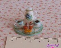 miniature turquoise coffee set miniature dollhouse miniature food clay coffe cup miniature bl 112 dollhouse miniature