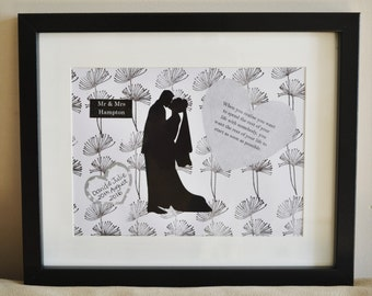 Personalised wedding picture, Wedding present, Handmade, Wedding art, Framed picture, Personalized wedding gift, Bride and groom