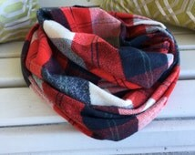 Flannel infinity scarf, red and navy plaid scarf, plaid infinity scarf, warm infinity scarf, plaid fall scarf, soft infinity scarf,