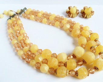 Vintage Mid Century W.Germany Lucite Multi-Strand Necklace and Earrings Set, Lemon Yellow Beaded Lucite Necklace, Estate Jewelry, 1950s'