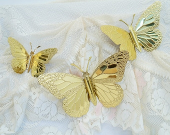 Gold Butterfly Wall Decor/Vintage Butterflies/Butterfly Decor/Metal Butterflies/Home Interior and Gifts/Made In The USA/Gold Butterflies