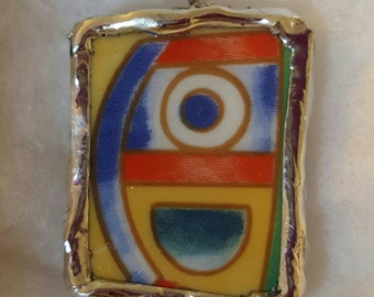 Funky Art deco necklace pendant with soldered edges