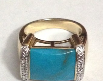 Gold tone sterling silver blue stone ring size 6
