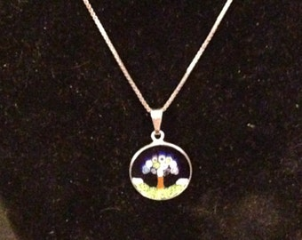 Handcrafted Enamel pendant set in sterling silver and sterling necklace from Italy