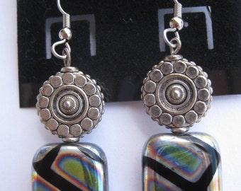 Patterned Metal Dangle Earrings