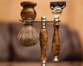 Handmade Wood Gillette Fusion Shave set