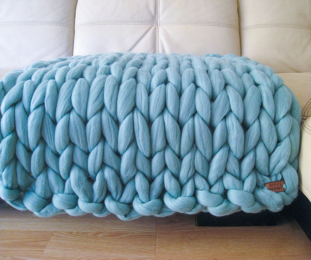 Knit Blanket Pattern Super Bulky : Super Chunky Baby Blanket. Giant Knitted Merino Wool by ...