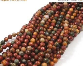 30% OFF Red Creek Jasper Picasso Jasper 8 mm Round Beads 1 Full Strand Approx. 49 beads