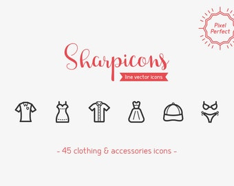 Clothes & Accessories Line Icons