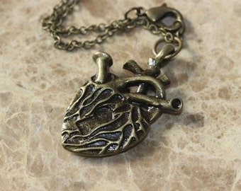 steampunk anatomical heart necklace