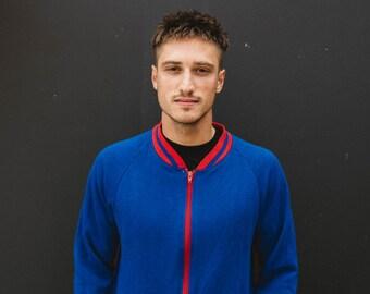 Retro Blue Track Jacket Sweater