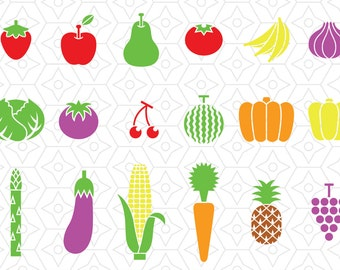 Fruits and Vegetables Decal Collection, SVG, DXF and AI Vector Files for use with Cricut or Silhouette Vinyl Cutting Machines