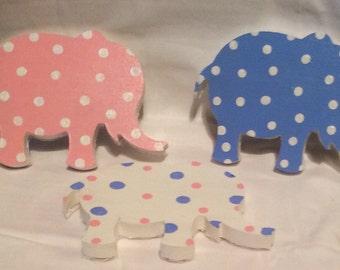 Polka dot wooden elephant