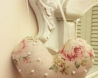 Roses Hanging Heart Lavender Sachet, Pearl Beaded Heart Sachet, Roses Heart Pillow Sachet, Lavender Sachet, Roses and Pearls Heart Sachet