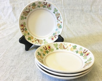 Vintage Noritake Progression Homecoming Fruit or Dessert Bowls, Set of 4, Country Kitchen Fruits and Partridge Dishes, Autumn Dinnerware