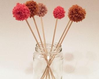PomPoms pink brown beige cream - Caketopper - set 6 pieces - cake decoration-