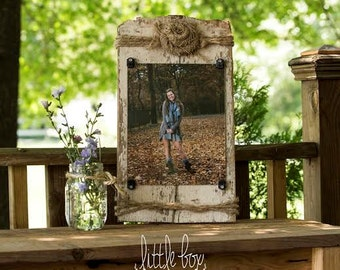 Barn Wood Picture Frame with Burlap Flower and Twine