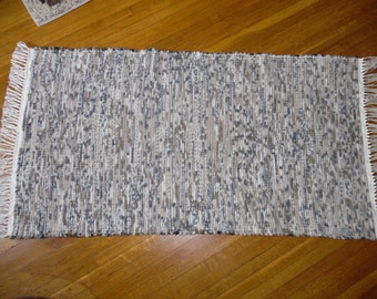 Handwoven Rug Made on 100 year old loom, Neutral, Reversible, Durable, Washable