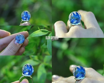 Ring Space blue flower with real scilla