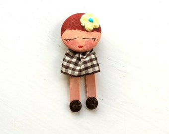 Hand Painted Brooch Badge Doll - REDUCED -