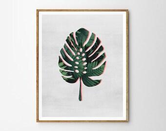 Tropical plant, Monstera, Pink, Abstract, Modern art, Wall decor, Digital art, Printable, Digital poster Instant Download 8x10, 11x14, 16x20