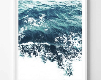 Landscape print, Sea print, Blue, Water, Ocean, Nature, Modern art, Wall decor, Digital art, Printable, Instant Download 16x20, 20x16