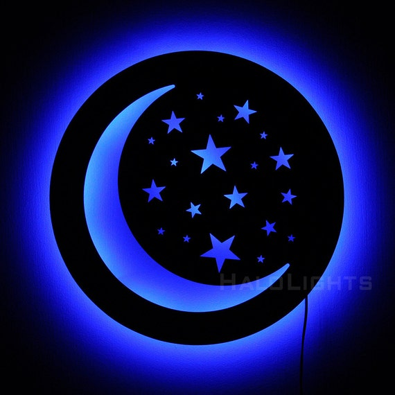 Crescent Moon Lamp Moon and Stars Night Light Wall by HaloLights