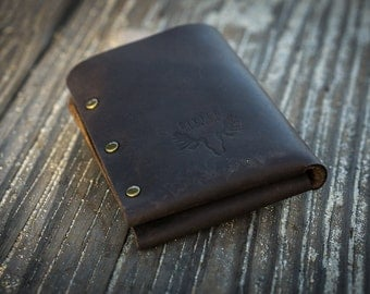 Handmade Leather Wallet | Dark Brown | Stone Oil Leather