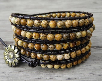 Bead wrap bracelet 5 wraps bracelet Leather wrap bracelet Boho bracelet Boho Beaded bracelet Earthy bead bracelet Yoga Jewelry SL-0040