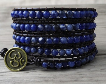 5 rows Leather wrap bracelet blue natural stone Beads bracelet Boho Beaded wrap bracelet Yoga Wrapped bracelet Bohimian bracelet SL-0038