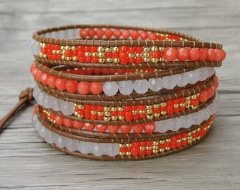 5 wraps bracelet boho bead bracelet leather bead bracelet peach orange wrap bracelet gypsy leather wrap bracelet seed bead bracelet SL-0292