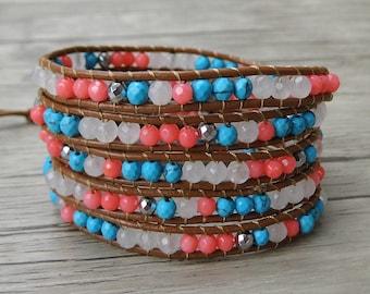 Summer bead wrap bracelet 5 wraps leather bead bracelet coral turquoise wrap bracelet gypsy leather wrap bracelet beadwork jewelry SL-0307