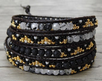 Black bead wrap bracelet Lava bead bracelet seed bead bracelet Leather wrap bracelet quartz bead bracelet leather bracelet Jewelry SL-0372