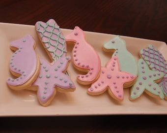 Under the sea sugar cookies, party favors
