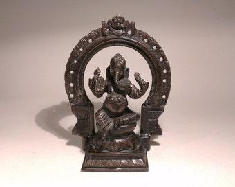 Vintage Bronze Ganesha Statue, Bronze Brass Hindu God Statue, Indian Bronze Statue