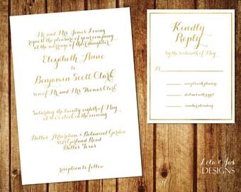 Gold, Simple Wedding Invitation Printable