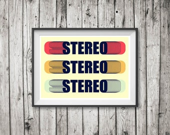 RETRO STEREO Poster Art Print or Canvas Print 'Unframed'  - Mid Century style retro typographic stereophonic illustration - P&P WORLDWIDE