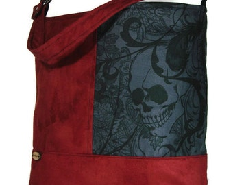 skull bag skull purse skull handbag spider bag fabric shoulder bag - Halloween Handbag