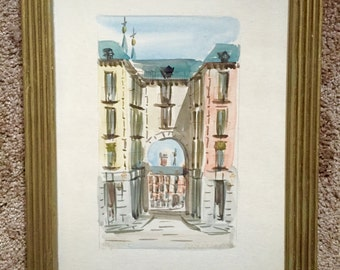 Martin Hidalgo Signed Watercolor Plaza Madrid Wall Art; Martin Hidalgo Art; Hidalgo Watercolor