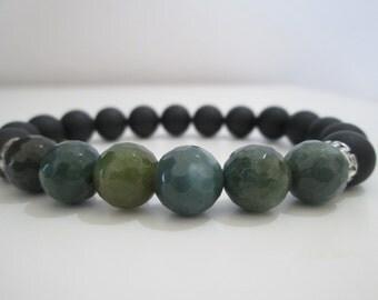 Onyx matt and Agate Indian bracelet,Bracelet for man,Greek style bracelet,Gift,Gift for man,Onyx,Agate indian facetas gemstone bracelet