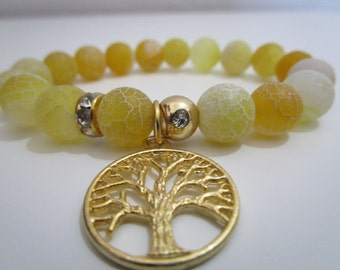 Agate veins of dragon, agate yellow, agate Crackle yellow, hanging tree of the life, gift, gift for woman