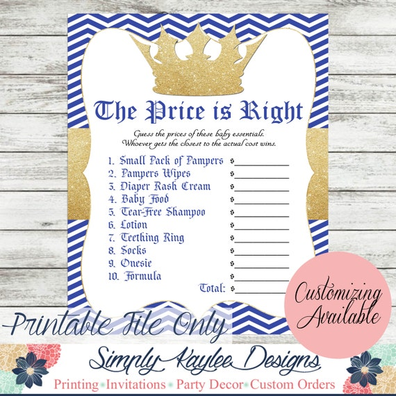 Little Prince Baby Shower Game The Price Is Right