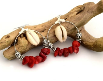 Coral shells Creoles cowrie shells, silver 30mm, jewelry, jewelry was